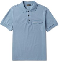 Berluti Slim Fit Leather Trimmed Cotton Pique Polo Shirt Blue