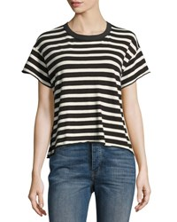The Great Cropped Striped Tee White Black