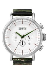 Men's Edwin Chronograph Leather Strap Watch 46Mm