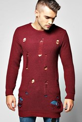 Boohoo Longline Fishermans Rip Crew Neck Sweater Wine
