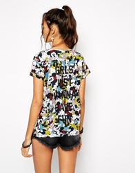 Eleven Paris All Over Minni Mouse T Shirt With Girls Just Wanna Have Fun Back Slogan Multi