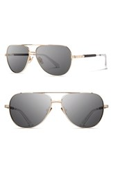 Shwood Women's 'Redmond' 53Mm Titanium And Wood Aviator Sunglasses Gold Ebony Grey Gold Ebony Grey