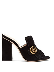 Gucci Marmont Fringed Suede Sandals Black
