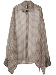Vera Wang Checkered Print Elongated Blouse Brown