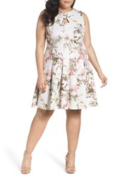 Gabby Skye Plus Size Women's Floral Fit And Flare Dress