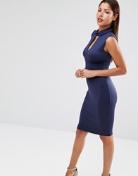 Club L Peter Pan Collar Pencil Midi Dress Navy