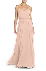 Women's Jenny Yoo 'Inesse' Chiffon V Neck Sleeveless Gown Blush