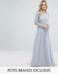 John Zack Petite All Over Lace Top Maxi Dress With Open Back Gray