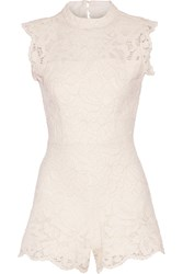 Alexis Saint Lucia Cutout Corded Lace Playsuit White