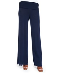 Fuzzi Palazzo Pants With Fold Over Waistband Zaffiro Navy