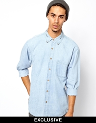 Reclaimed Vintage Denim Shirt With Love Hate Embroidery Blue