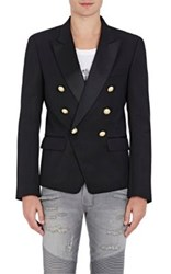 Balmain Men's Twill Double Breasted Sportcoat Black