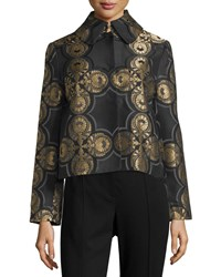Max Studio Quatrefoil Jacquard Jacket Black Gold