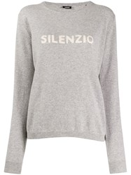 Aspesi Round Neck Logo Sweater Grey