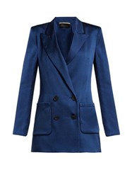 Roland Mouret Talbot Hammered Stretch Silk Blazer Blue