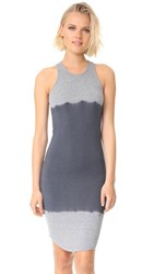 Monrow Two Tone Tie Dye Sporty Tank Dress Granite