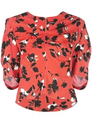 Derek Lam Floating Floral Short Sleeve Blouse With Ruched Detail Red