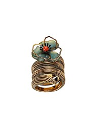 Fendi Flower Embellished Twist Ring Green
