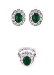 Lc Collection Diamond Jade 18K White Gold Ring And Earrings Set Metallic