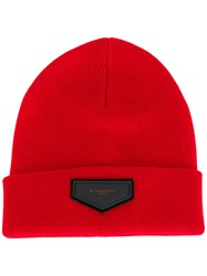 Givenchy Logo Beanie Men Acrylic Wool One Size Red