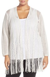 Plus Size Women's Nic Zoe 'Enchanted' Fringed Cotton Blend Open Front Cardigan