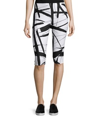 Norma Kamali Abstract Lines Capri Leggings Abstract L