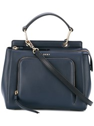 Dkny Mini Zip Pocket Tote Women Leather One Size Blue