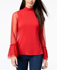 Thalia Sodi Mock Neck Sheer Sleeve Top Created For Macy's Lipstick Red
