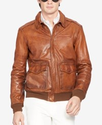 Polo Ralph Lauren Farrington Bomber Leather Jacket Medium Brown