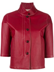 Loro Piana Cropped Leather Jacket Red