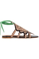 Malone Souliers Ella Laser Cut Suede And Leather Sandals It37