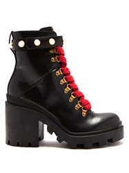 Gucci Lace Up Leather Ankle Boots Black