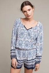 Anthropologie Basia Romper Blue Motif