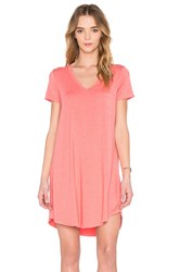 Heather V Neck Pocket Tee Dress Coral
