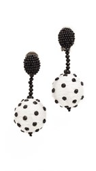 Oscar De La Renta Polka Dot Clip On Sequin Earrings White Black