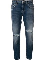 Philipp Plein Distressed Cropped Jeans Blue
