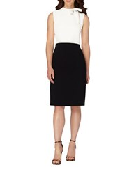 Tahari By Arthur S. Levine Petite Sleeveless Bow Neck Twofer Dress Black Ivory