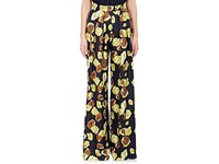 Martin Grant Women's Floral Silk Wide Leg Pants Navy