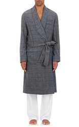 Barneys New York Men's Windowpane Checked Wool Blend Flannel Robe Grey Blue Grey Blue