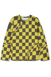 Off White Oversized Checked Knitted Sweater Yellow