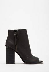Forever 21 Faux Leather Peep Toe Booties Black