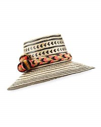 Guanabana Handmade Guajiro Patterned Mawisa Sun Hat Black Natural Neutral Pattern