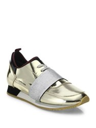 Philippe Model Metallic Leather Sneakers Gold