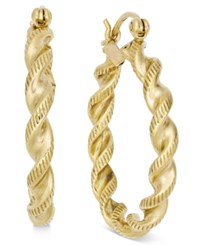 Macy's Twisted Rope Style Hoop Earrings In 14K Gold Yellow Gold