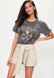 Missguided Beige Studded Belt High Waisted Faux Leather Shorts Taupe