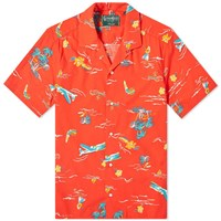 Gitman Brothers Vintage Short Sleeve Camp Collar Surf And Turf Shirt Red