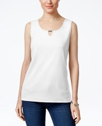 Karen Scott Keyhole Tank Top Only At Macy's Bright White