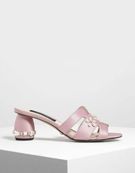 Charles And Keith Pearl Embellished Satin Mules Pink