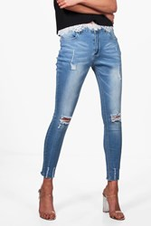 Boohoo Low Rise Destroyed Hem Skinny Jeans Blue