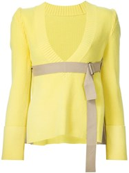 Sacai Belted V Neck Jumper Yellow And Orange